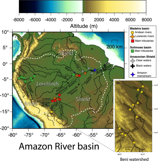 Riverine Li Isotope Fractionation In The Amazon River Basin - Amazon river location