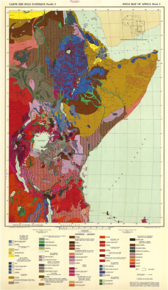 one sheet from a soil map of africa produced in 1963 by the institut gographique militaire in bruxelles illustrating the international nature of soil