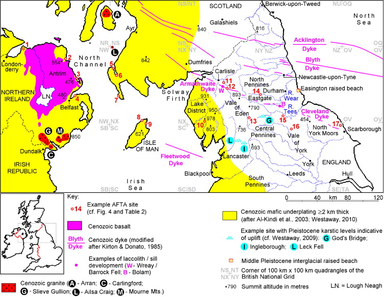 Map Of England 850.Cenozoic Cooling And Denudation In The North Pennines Northern