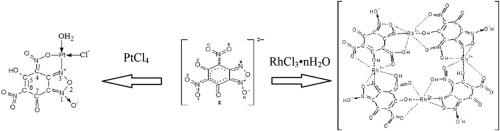 Complexes of rhodium and platinum with 4,6-dinitro-5,7