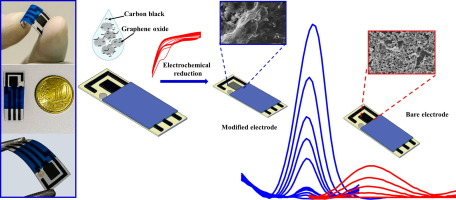 Low-cost screen-printed electrodes based on electrochemically