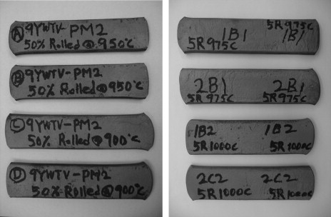 Process development for 9cr nanostructured ferritic alloy nfa fig 4 examples of as rolled plates each plate is still cladded with mild steel and contains a nfa meat portion of 5t 23w 150l mm fandeluxe Gallery