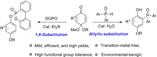 Organocatalytic, regioselective allylic- and 1,6-substitution of