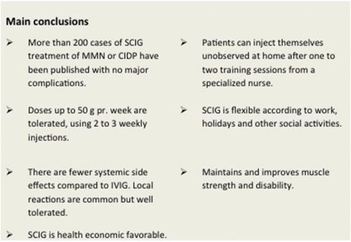 Subcutaneous immunoglobulin treatment in CIDP and MMN