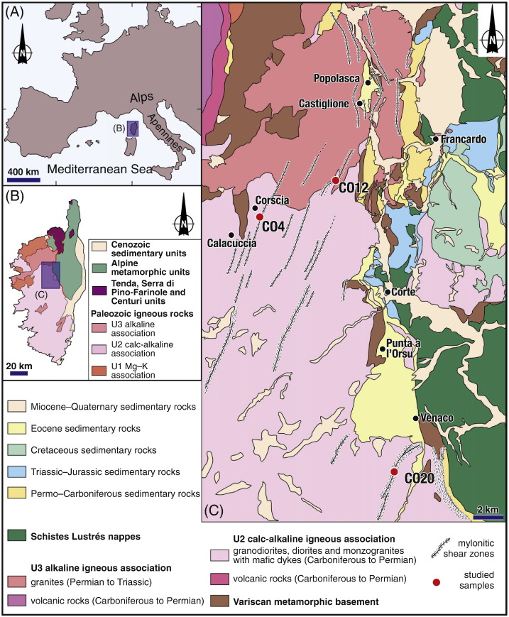 40Ar39Ar laser dating of ductile shear zones from central Corsica