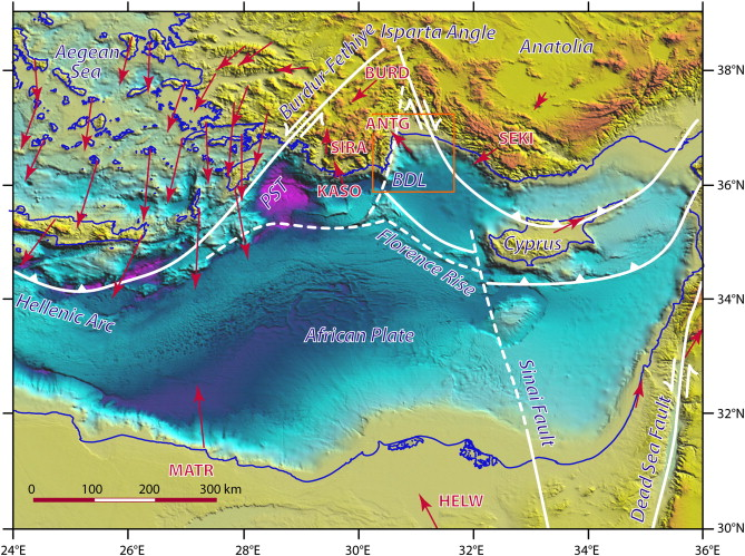 physiography of the eastern mediterranean sea showing a selection of gps vectors relative to a fixed anatolia redrawn from mcclusky et al 2000