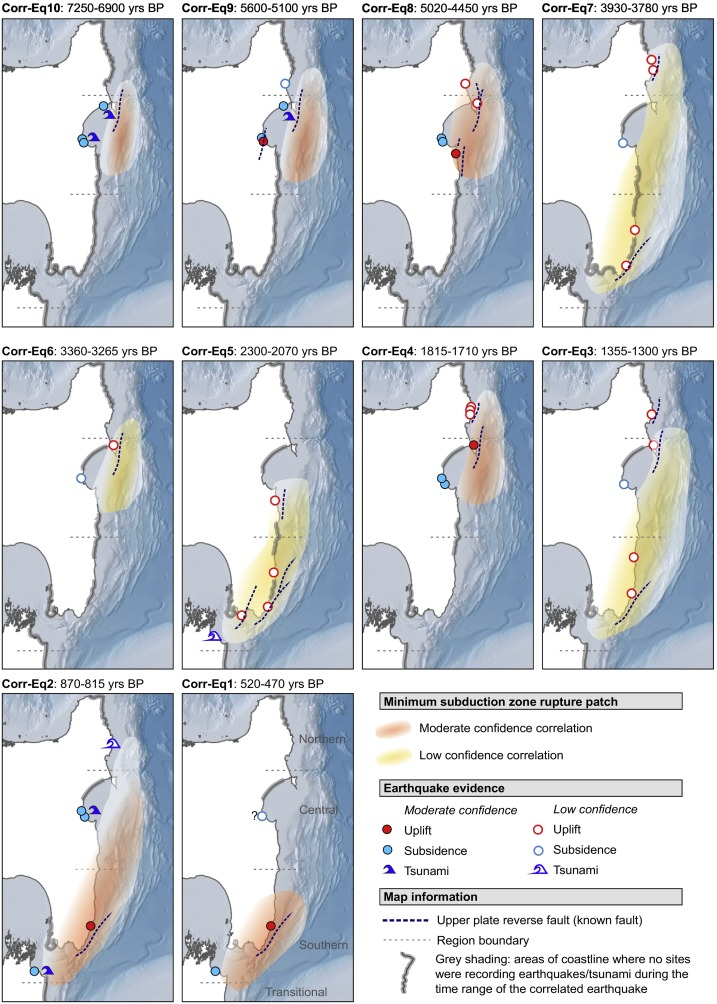 Geological evidence for past large earthquakes and tsunamis