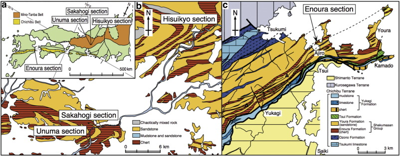 Sedimentary PGE Signatures In The Late Triassic Ejecta Deposits - Japan map full