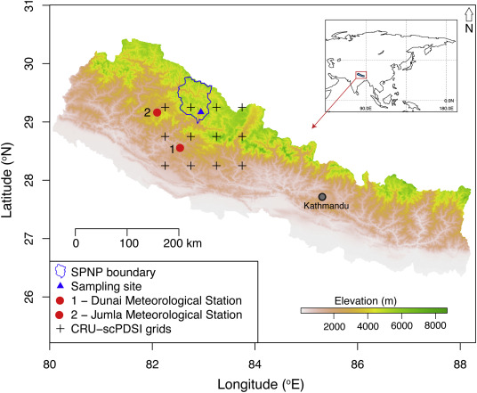 Drought (scPDSI) reconstruction of trans-Himalayan region of