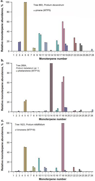 Volatile monoterpene 'fingerprints' of resinous Protium tree