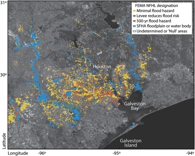Land subsidence in Houston correlated with flooding from ... on galveston county zoning map, fort worth flood plain map, galveston county flood zone map, jersey village flood plain map,