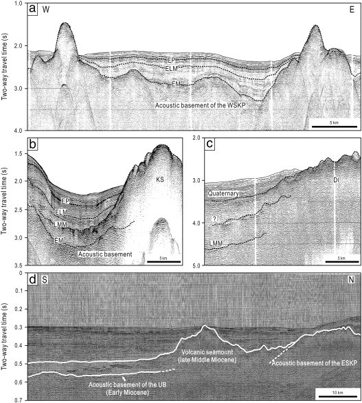 Selected Seismic Reflection Profiles Showing Details Of The Acoustic  Basement And Volcano Stratigraphic Units (for Locations, See Fig. 2a).