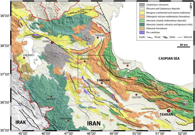 simplified geological map of nw iran merged with shaded topography showing the main faults and geological formations based on the geological map of the