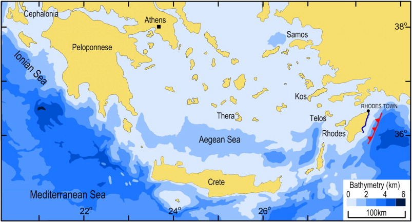 Seismic coastal uplift and subsidence in Rhodes Island Aegean Arc