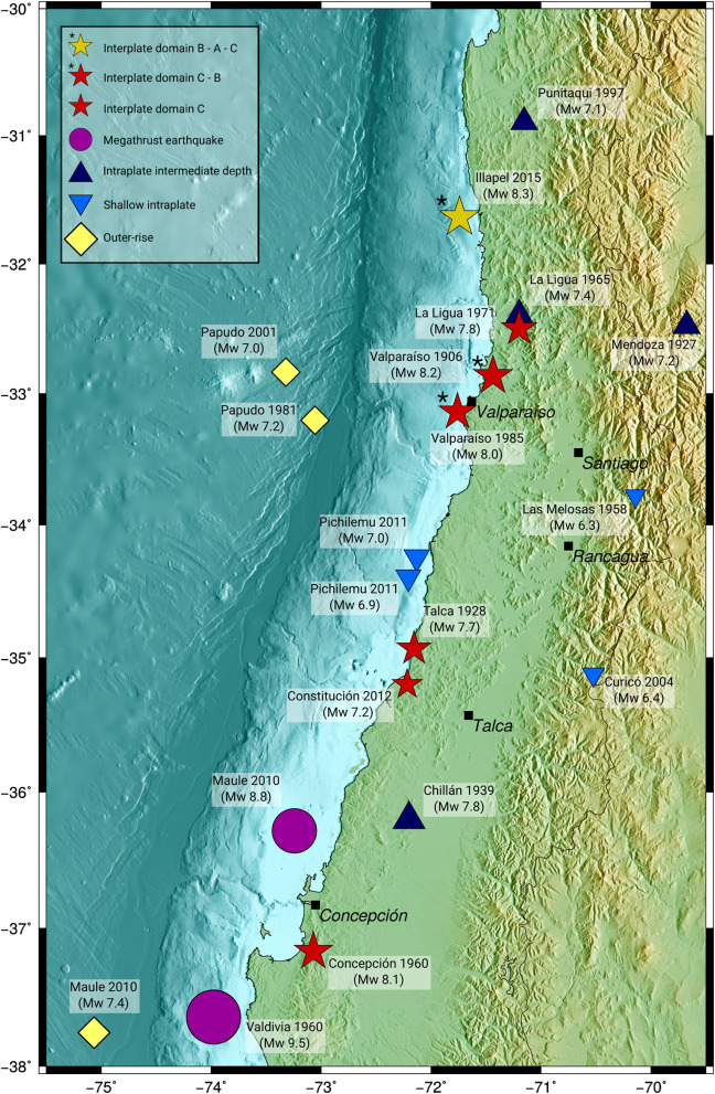 Historical and recent large megathrust earthquakes in Chile