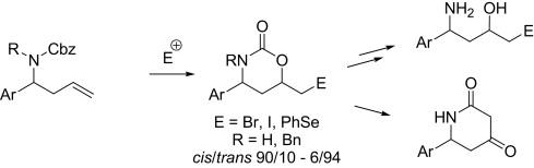 的非对映选择性合成6-官能4-芳基-1,3-恶嗪烷-2-酮和它们在3-芳基-1,3-二氨基醇和6-芳基哌啶-2,4-二酮合成应用