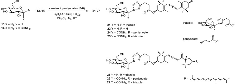 Synthesis of carotenoid-monosaccharide conjugates via azide