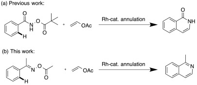 Isoquinoline synthesis by C-H activation/annulation using vinyl