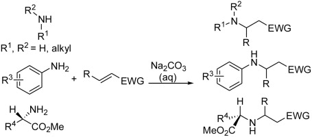 Aza-Michael reaction promoted by aqueous sodium carbonate solution