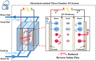 Electrolysis-assisted mitigation of reverse solute flux in a three