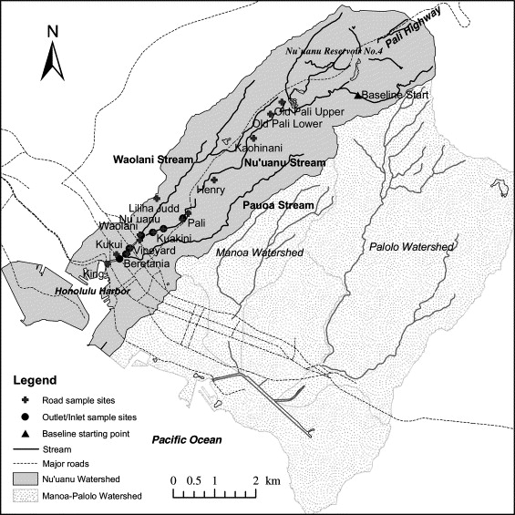 Cu, Pb and Zn contamination in Nuuanu watershed, Oahu