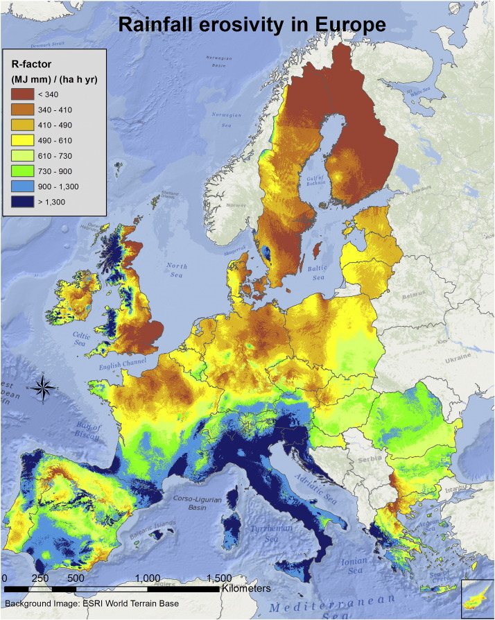 Rainfall Erosivity In Europe ScienceDirect - Portugal rainfall map