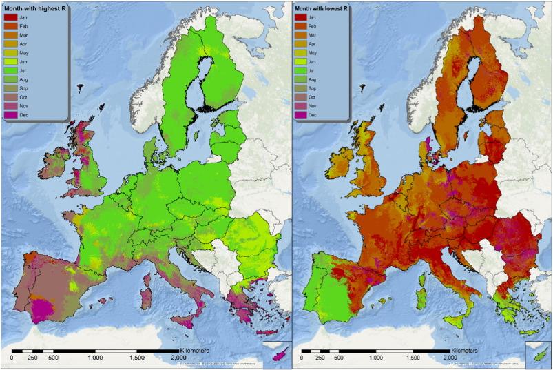 Rainfall Map Europe.Mapping Monthly Rainfall Erosivity In Europe Sciencedirect
