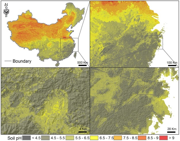 A high-resolution map of soil pH in China made by hybrid modelling on