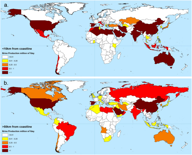 The state of desalination and brine production: A global