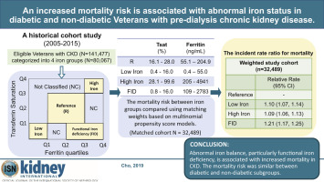 An increased mortality risk is associated with abnormal iron