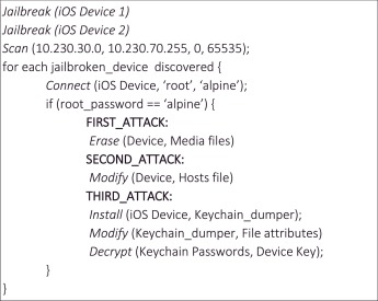 A Markov adversary model to detect vulnerable iOS devices