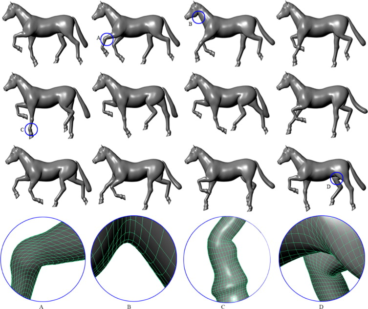 Dynamic skin deformation using finite difference solutions for