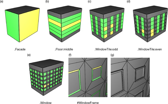 Generalized selections for direct control in procedural buildings