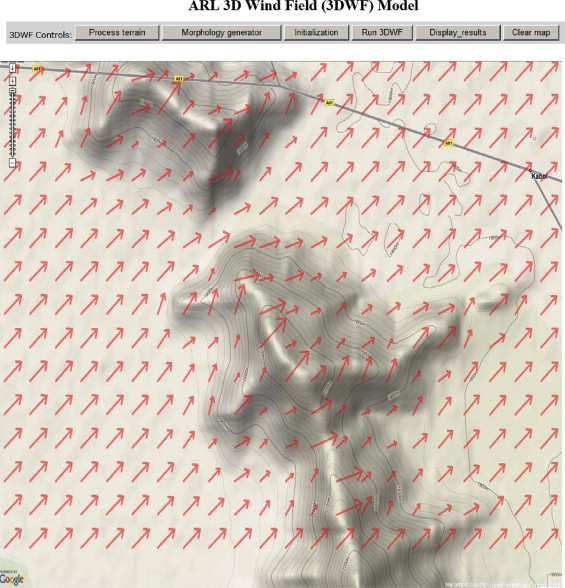 Integration of Google Maps/Earth with microscale meteorology