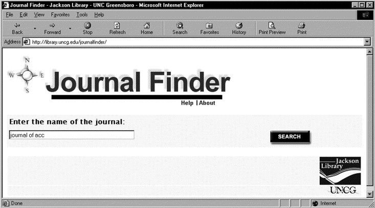 searching a name of a journal on the Journal finder website
