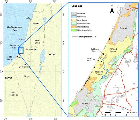 Monitoring sand dune stabilization along the coastal dunes of Ashdod