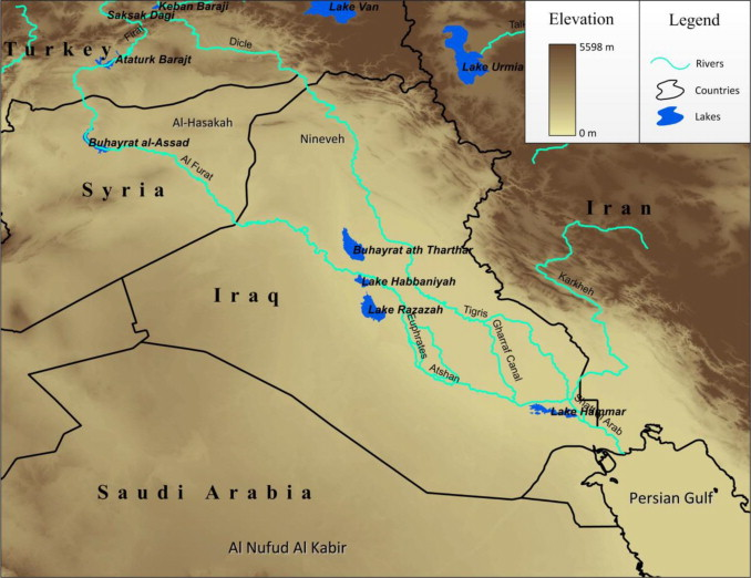 iraq and its surrounding countries background image shows the topography of study area