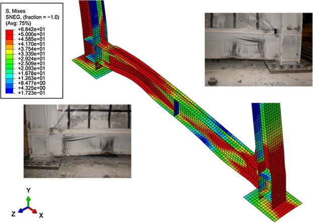 Experimental investigation of steel plate shear walls with in span 12 analytical deformed shapes with stress contours of hbe0 at 333 drift fandeluxe Images