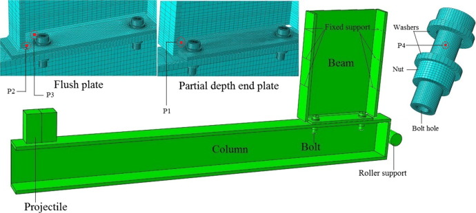 Lateral impact response of end-plate beam-column connections