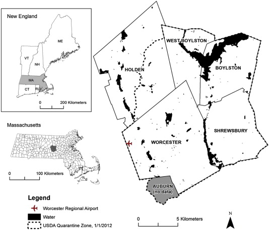 The impact of tree cover loss on land surface temperature a case new england top left and the town boundaries in massachusetts bottom left with study area map right consisting of worcester shrewsbury boylston ccuart Image collections