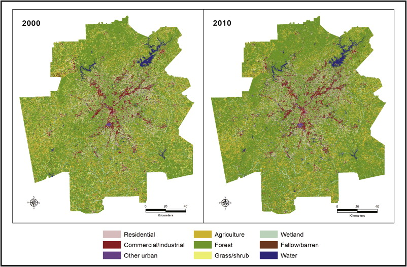 Monitoring land changes in an urban area using satellite imagery