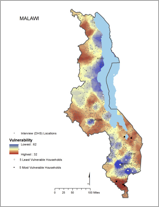 malawi vulnerability map least vulnerable areas are depicted in blue the most vulnerable areas are in red the least vulnerable household scored a 62 out