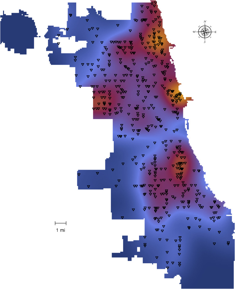 a heat map overlaid on top of points depicting the intensity of liquor stores in chicago in 1995 blue shading indicates fewer stores orangered shading