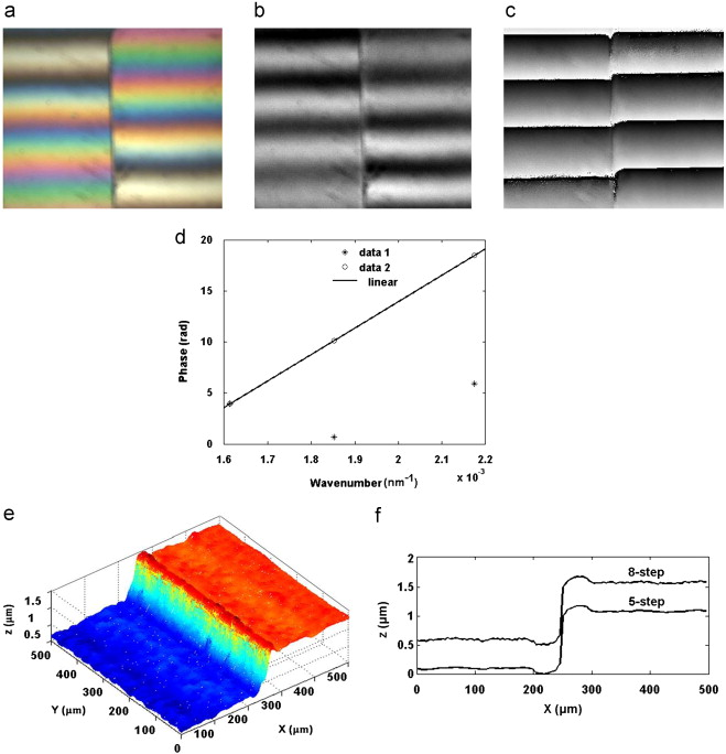 3 D Surface Profile Analysis Using The Fringe Order Method: (a) White Light  Interferogram, (b) Interferogram At λ2, (c) Wrapped Phase Map At λ2, ...