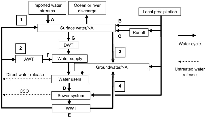 Emerging contaminants of public health significance as water quality schematic of generic urban water cycle 1 indirect reuse via surface water 2 direct reuse by advanced wastewater treatment awt 3 recharge of ccuart Gallery