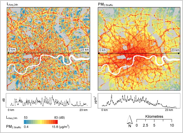 Spatial and temporal associations of road traffic noise and