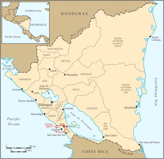 When Wells Run Dry Water And Tourism In Nicaragua ScienceDirect - Nicaragua map download
