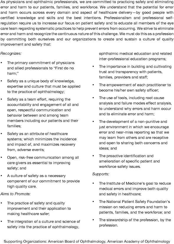 Building a Culture of Safety in Ophthalmology - ScienceDirect
