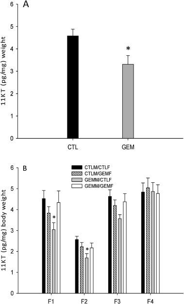 Parental gemfibrozil exposure impacts zebrafish F1 offspring, but