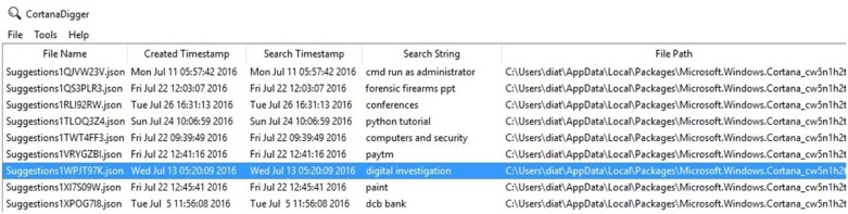 A forensic insight into Windows 10 Cortana search